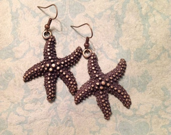 Starfish Earrings Antique Gold Starfish Large Starfish Earrings Metal Earrings