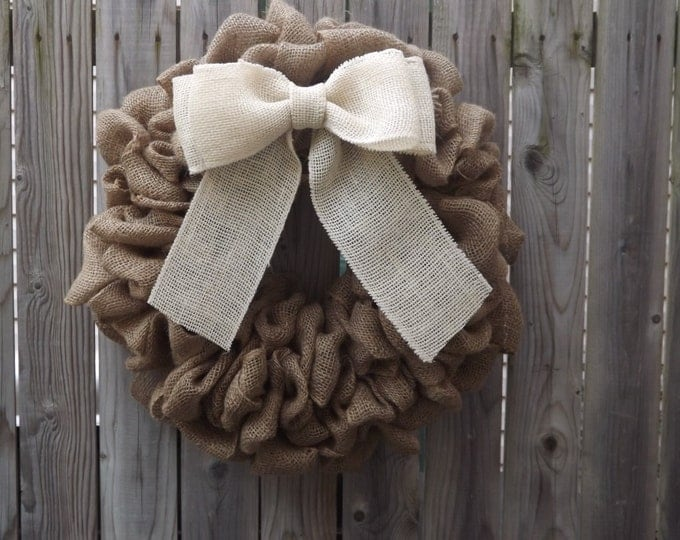 Burlap Wreath with Ivory Bow