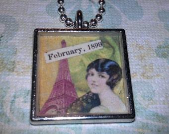 Vintage Style Lady In Paris Resin Pendant Necklace