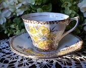 Rosina Fine Bone China tasse à thé et soucoupe, sépia et bleu jaune Floral, or doré, Angleterre