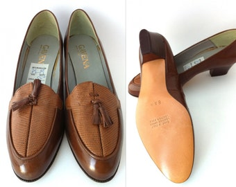 NOS Brown Women's Shoes, Size 8.5, Gavena Vintage Women's Heels, Tasseled Dress Shoe, Deadstock, Brand New Ladies' Pumps, Brown Shoes, Tan