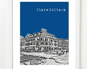 State College Art Print  - State College Pennsylvania City Skyline Poster - Affordable Graduation Gift