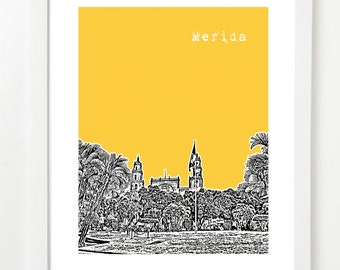 Merida, Mexico Poster - Skyline Art Print - Yucatan