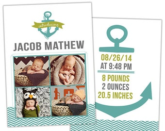 Birth Announcement Template for Photographers Photo Card Template Photography Birth Announcement Photoshop Card Template - BA147