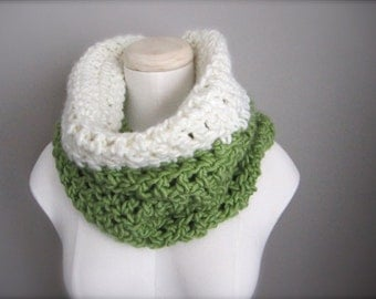 Crochet St. Patrick's Day Spring Green, Light Green, Ivory, Off White Color Block Cowl, Women's Scarf, Men's Scarf, Unisex Scarf, Loop Scarf