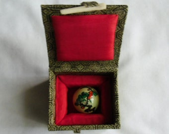 Vintage Oriental Fabric Boxes - Two Fabric Gift Boxes and Oriental Ball