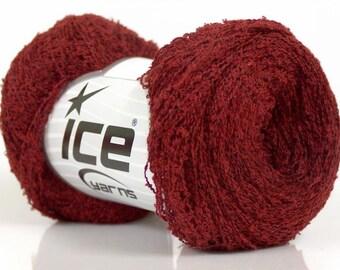 Burgundy cotton yarn Mini Boucle knitting SuperFine crochet yarn ICE