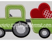 Personalized, appliqued Valentine's tractor with hearts tshirt or onesie.