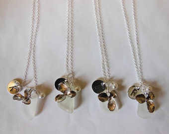 Set of four personalized floral orchid, sea glass and pearl necklace - silver flowers and initial - your choice of color and custom initial.