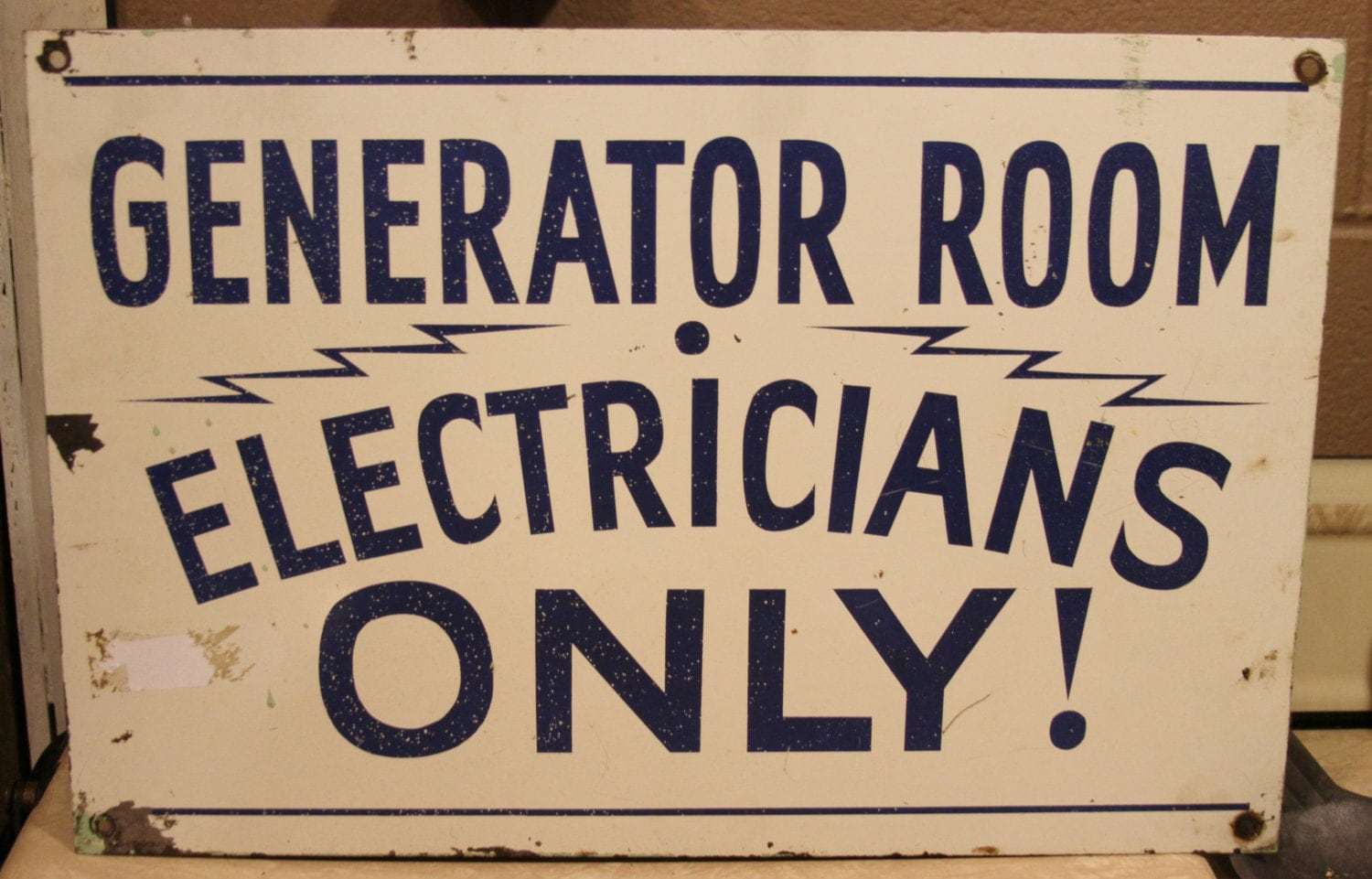 Hand painted vintage sign Generator Room Electricians Only