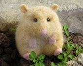 Felted Hamster - life like size miniature wool toy