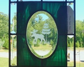 Moose and Pine Tree Beveled Glass Panel