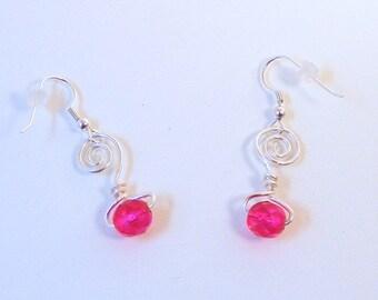 SILVER SCROLL FUSCHIA Crystal Earrings