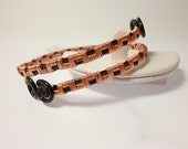 Wire wrapped adjustable bracelet black / copper
