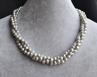 gray pearl necklace,3 strands 5-6mm gray frshwater pearl necklace,Maid of honor jewelry,bridesmaid jewelry