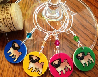 Pug Pups Wine Glass Charms