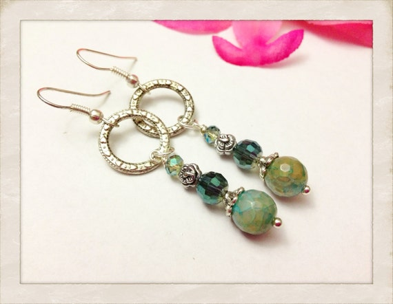 Green Dragons Vein Agate Dangle Earrings with Filigree Jump Ring Accent by Jules Jewelry Box