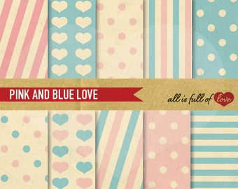 DIGITAL Paper PINK BLUE Scrapbooking Patterns Polka Dots Stripes Hearts Valentines Paper Digital Backgrounds Valentines patterns Baby