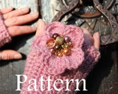 Crochet pattern -  mittens with flower and beads - Listing48
