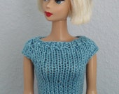 Handmade clothes, Hand knitted Barbie Vintage cotton shortsleeves top, sweater D216