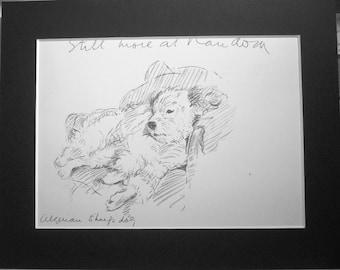 Algerian sheepdog Vintage Mounted 1936 'Mac' Lucy Dawson Sheepdog dog bookplate print Unique gift Christmas, Birthday, Thanksgiving gift