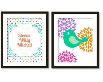 Personalized Nursery Art, Birth details with bird on polka dot-chevron-blossom 2
