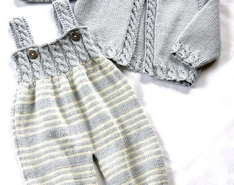 Baby Overalls with detailed cabled bodice and matching sweater - P037