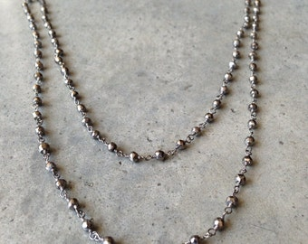 Pyrite Necklace, long necklace, layered