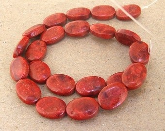Oval Red Sponge Coral Beads --- 13mmx 18mm --- Red Coral beads --- 22 Beads --- 15.5 inch Full strand