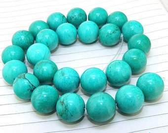 One Full Strand---Round Turquoise Beads----15mm----about 26Pieces----16inch one strand