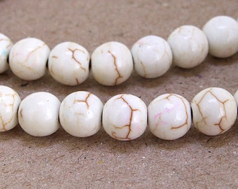 One Full Strand---Round White Turquoise Beads---- 6mm 8mm 10mm ----15.5inch strand