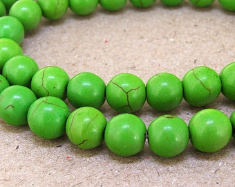 One Full Strand---Round Green Turquoise Beads----8mm ----about 50Pieces----15.5inch strand