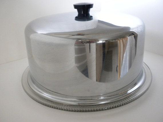 vintage glass cake plate with cover lid by oldandnew8 on etsy. Black Bedroom Furniture Sets. Home Design Ideas