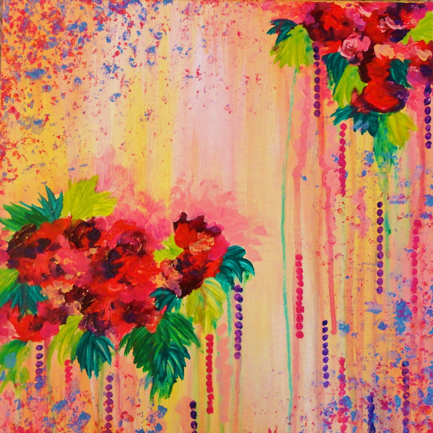 Strawberry confetti painting abstract acrylic floral art for Floral acrylic paintings