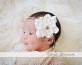 Tan and Ivory Silk Baby Flower Headband, Newborn Headband, Baby Girl Flower Headband, Photography Prop