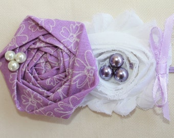 Lilac and White Baby Flower Headband, Newborn Headband, Baby Girl Flower Headband, Photography Prop