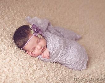 Purple Lavender Silk Baby Flower Headband, Newborn Headband, Baby Girl Flower Headband, Photography Prop