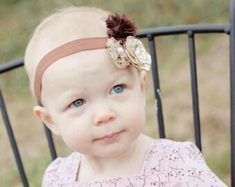 brown headband..baby girls headbands..vintage headband...girls headbands..