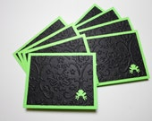 Set of 8 Bright Green and Black with Green Frog Mini Cards with No Envelopes
