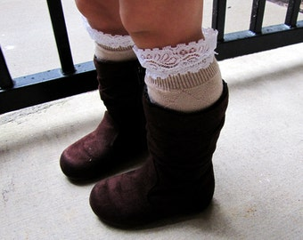 Toddler girl lace boot socks, leg warmers, white, dark brown, light brown, gray, little girl fashion, lacy shoe accessories, girl boot socks