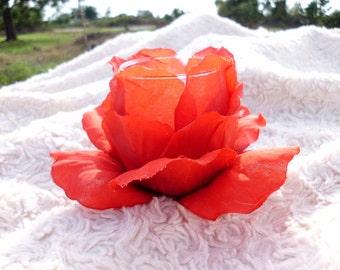 Rose Tealight Holder, Votive Candle Holder, Red Rose Candle Decor