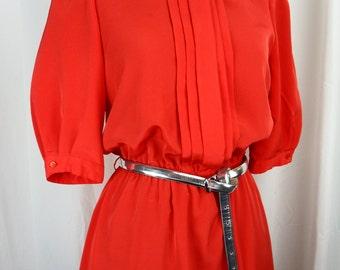 70s Sasson Paris red dress grunge style pleated front elastic waist puff sleeves secretary style: size US medium 8-10