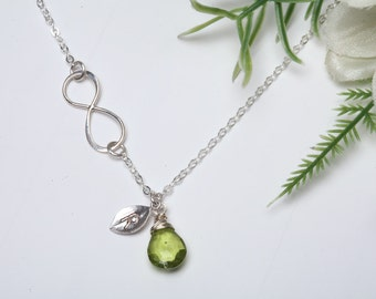 Infinity necklace with initial charm,Sideways,Custom stone,Leaf necklace,Friendship,Personalized initial,Everyday