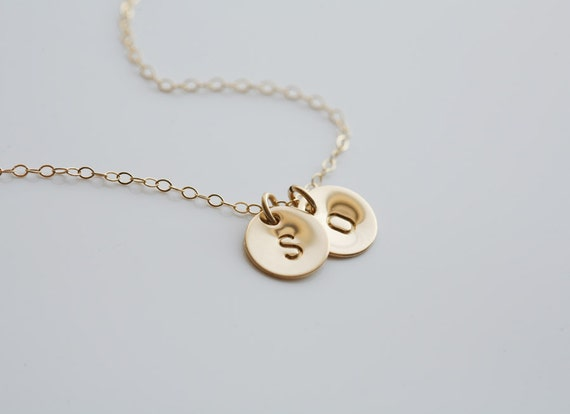 Personalized TWO initial Necklace,14k GOLD Filled, Family, Couple,Birthday,Best Friend, Kid, Sisterhood, Mother's Jewelry