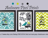 Bird Art Teal Grey Chartreuse  Vintage / Modern inspired Prints  -Set of 3 - 8 x 10 Prints - Chevron (UNFRAMED)