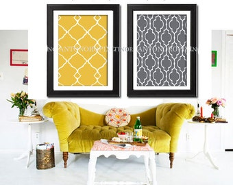 Giclee Poster Wall Art Citron Yellow Grey White Wall Art Ikat Inspired Wall Art Prints CollectionSet of  (2)  -24 x 36 Poster - (UNFRAMED)