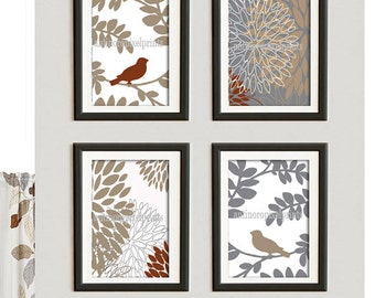 Khaki Grey Floral Bird Vintage / Modern inspired  Art Prints Collection  -Set of (4) - 5x7 Prints -   (UNFRAMED)