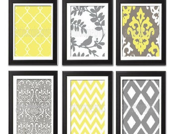 Vintage / Modern inspired Art Prints Collection (Series A) -Set of 6 - 8x10 Prints - Featured in Yellow / Grey  (UNFRAMED)
