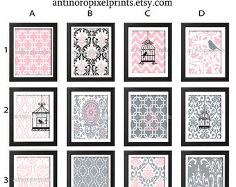 Baby Pink Grey Nursery Art Prints -Pick Any (5) Prints, Any Color - 8x10 Prints - Custom Colors Sizes Available (UNFRAMED)