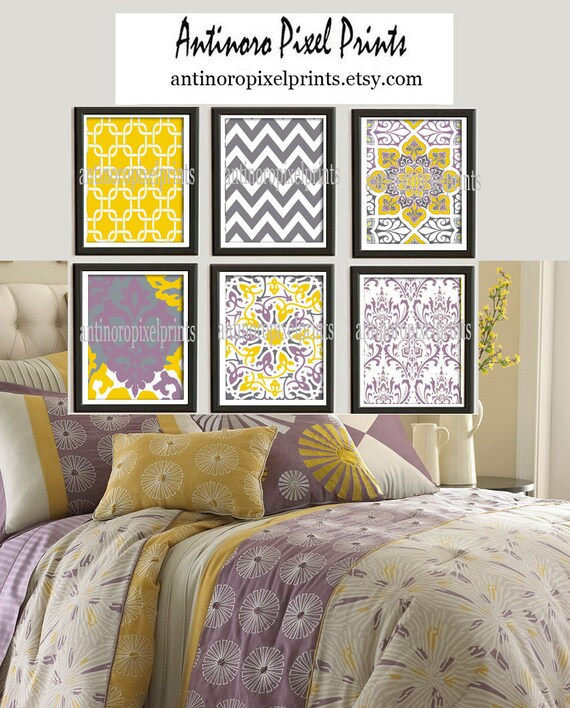 Purple And Yellow Kitchen Wall Art Unframed Kitchen: Ikat Yellow Purple Grey Damask Digital Wall By